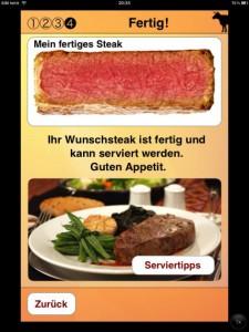 Nun kann das Steak serviert werden