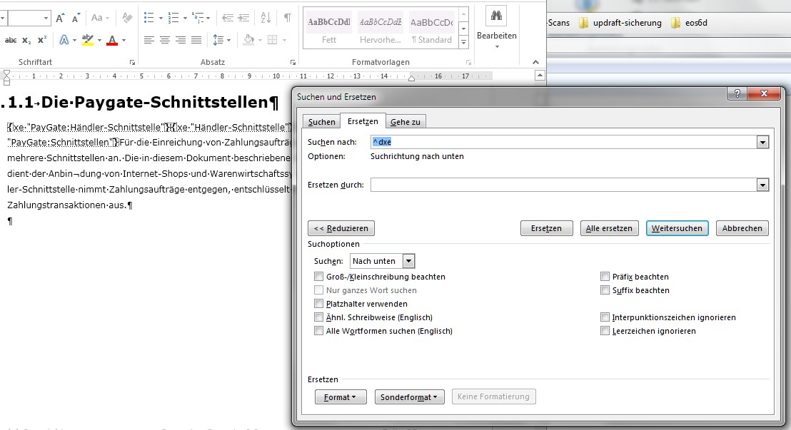 Indexeinträge in Word