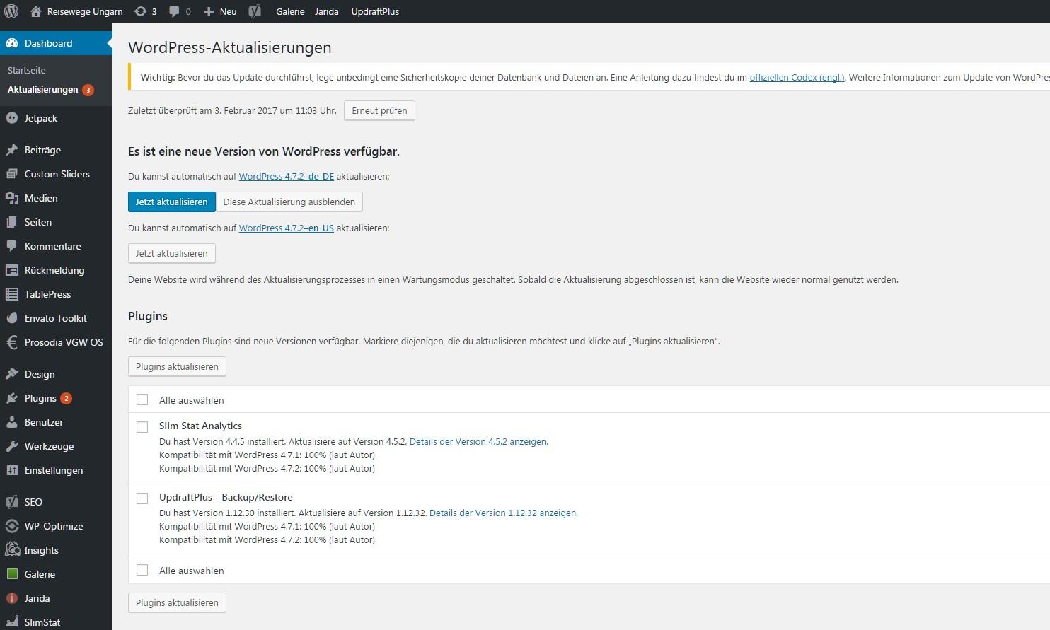 Wordpress: anstehende Aktualisierungen
